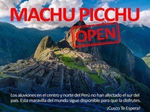 Machu Picchu and many other sights along the classic travel route in Peru are not affected by rain, flooding and destruction and operate as usual